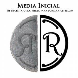 2 Iniciales Intercambiables - Placa Media Inicial R para sello vacío de lacre