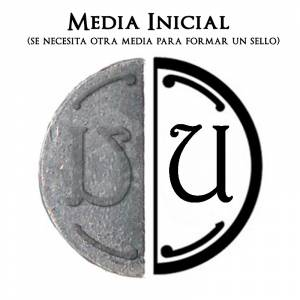 2 Iniciales Intercambiables - Placa Media Inicial U para sello vacío de lacre