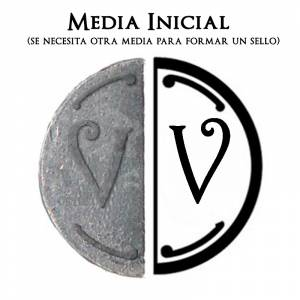 2 Iniciales Intercambiables - Placa Media Inicial V para sello vacío de lacre