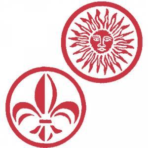 2 Iniciales Intercambiables - Placa para Sello vacío Flor Lis / Sol