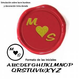 Con NUESTRO diseño - Sello Lacre 2.5 cms. Corazón con iniciales