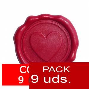 Lacres adhesivos - Sellos de lacre Adhesivos coraz�n rojo 9 unidades (�ltimas Unidades)